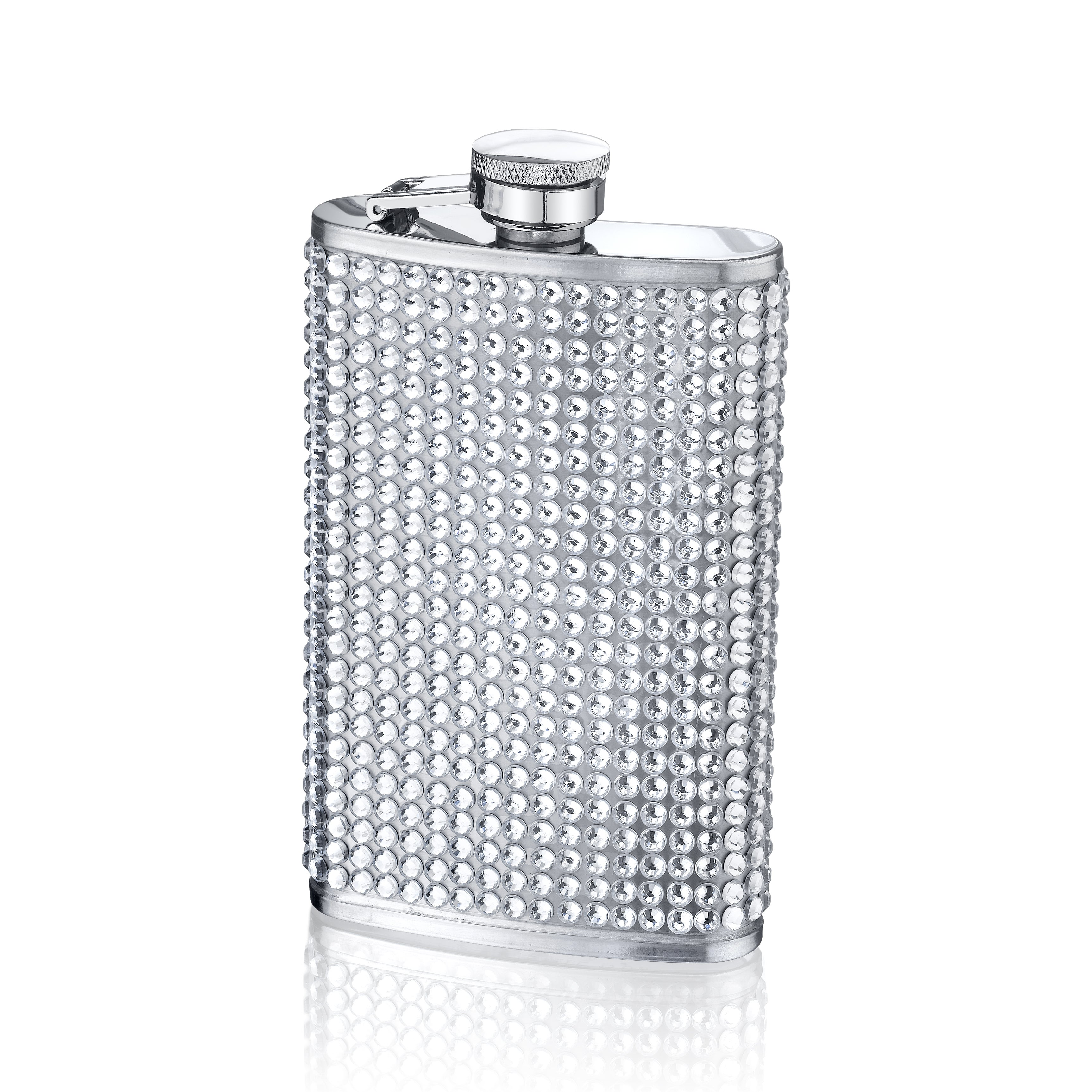 Small White Rhinestone-studded Stainless Steel Four-ounce Flask