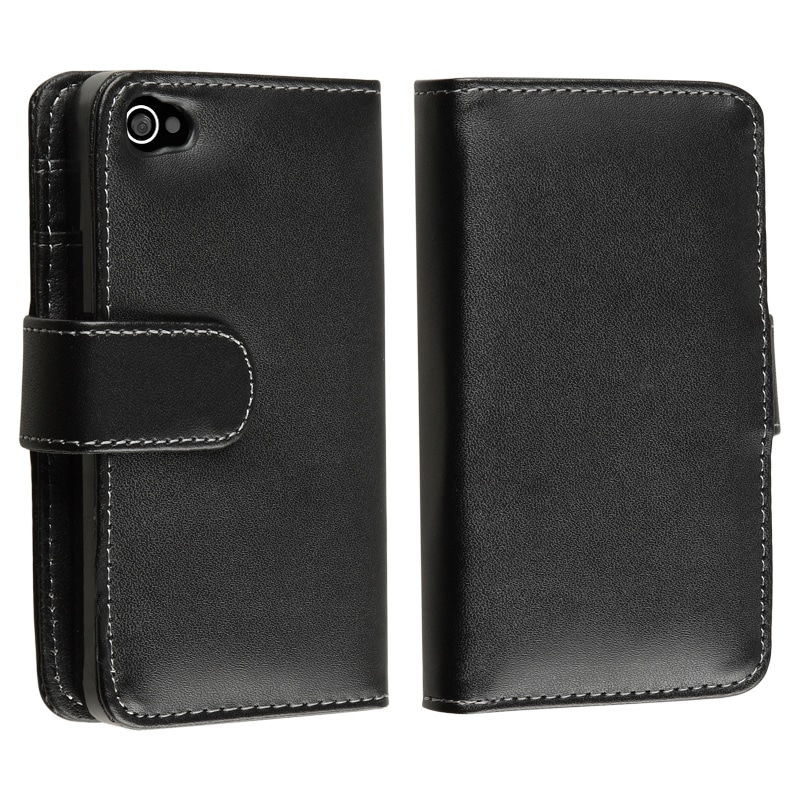 INSTEN Black Wallet Leather Phone Case Cover for Apple iPhone 4/ 4S - Thumbnail 0