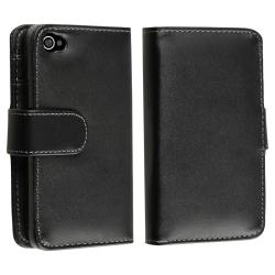 INSTEN Black Wallet Leather Phone Case Cover for Apple iPhone 4/ 4S