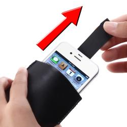 INSTEN Black Pull Leather Pouch for Apple iPhone 4/ 4S