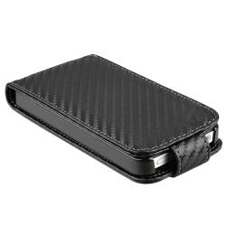 BasAcc Black Carbon Fiber Leather Case for Apple iPhone 4/ 4S