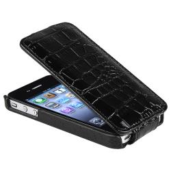 BasAcc Black Crocodile Skin Leather Case for Apple iPhone 4/ 4S