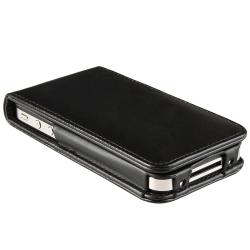 INSTEN Black Leather Phone Case Cover with Magnetic Flap for Apple iPhone 4/ 4S