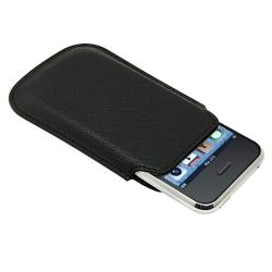 BasAcc Black Leather Pouch for Apple iPhone/ iPod Touch