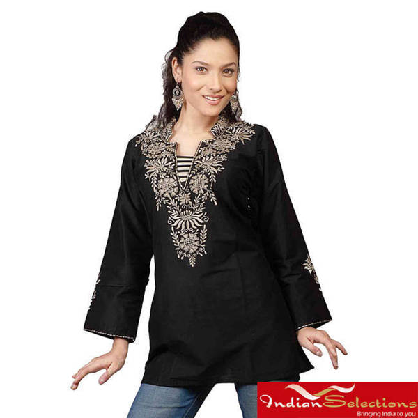 Handmade Black Long Sleeves Kurt i/ Tunic / Caftan with Neckline Embroidery (India)