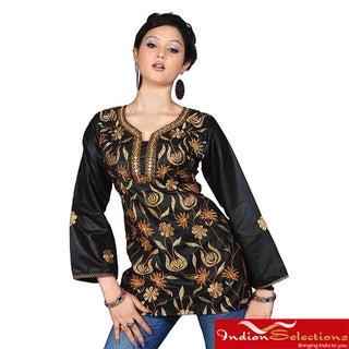 Handmade Black Long-sleeve Embroidered 100-percent Viscose Kurti/Tunic (India)