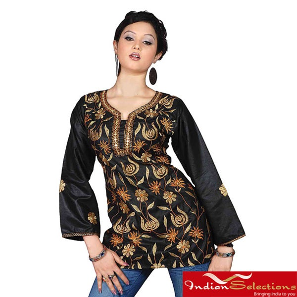 Black Long-sleeve Embroidered 100-percent Viscose Kurti/Tunic (India)