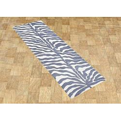 Alliyah Handmade Grey New Zealand Blend Wool Rug (3' x 10')