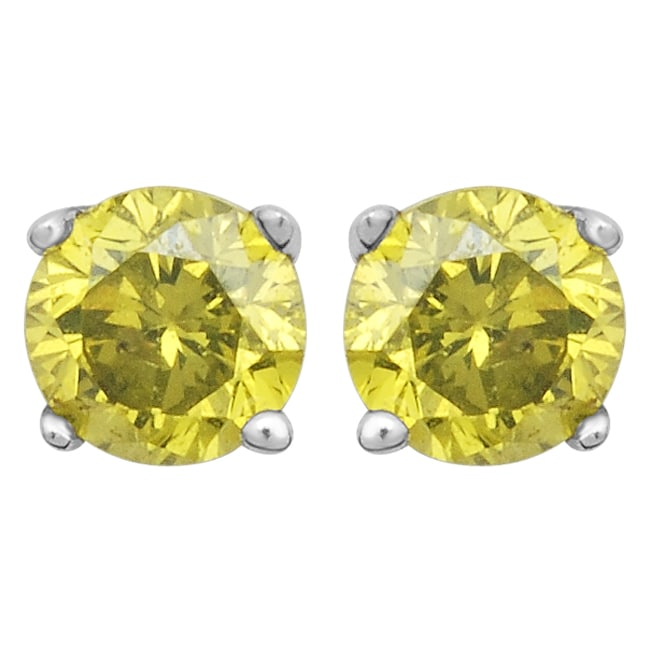 10k White Gold 1/8ct TDW Treated Yellow Diamond Stud Earrings