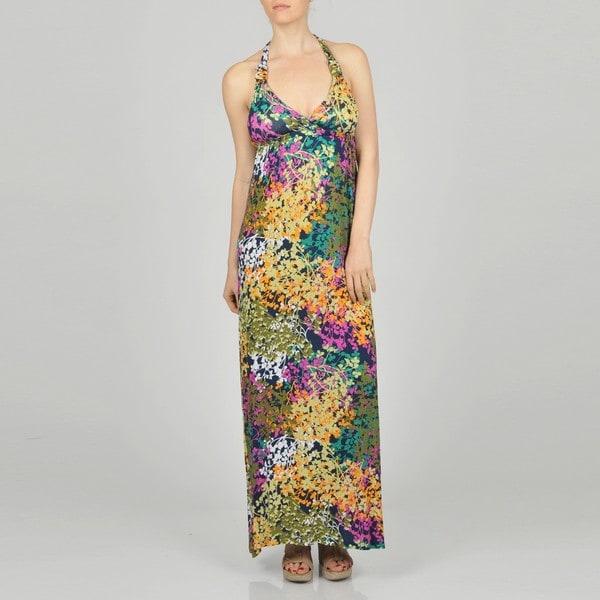 LA Gold Women's Allover Floral Maxi Dress