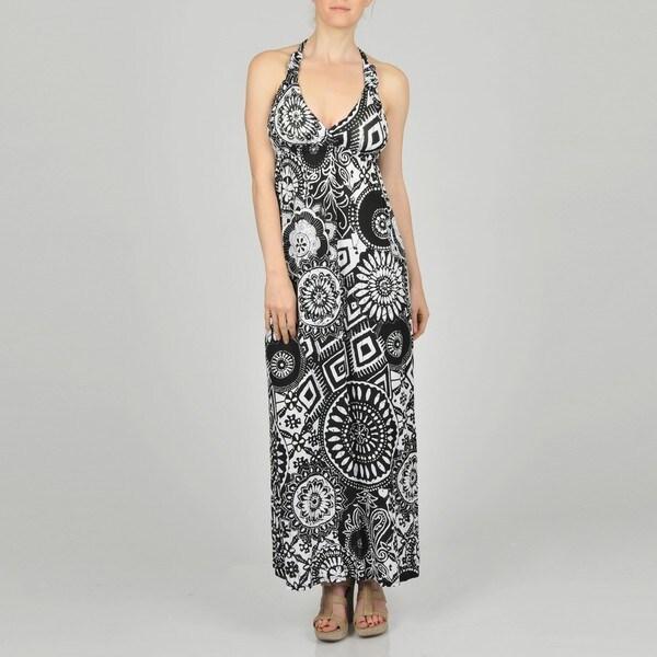 L.A. Gold Women's Black Allover Medallion Maxi Dress