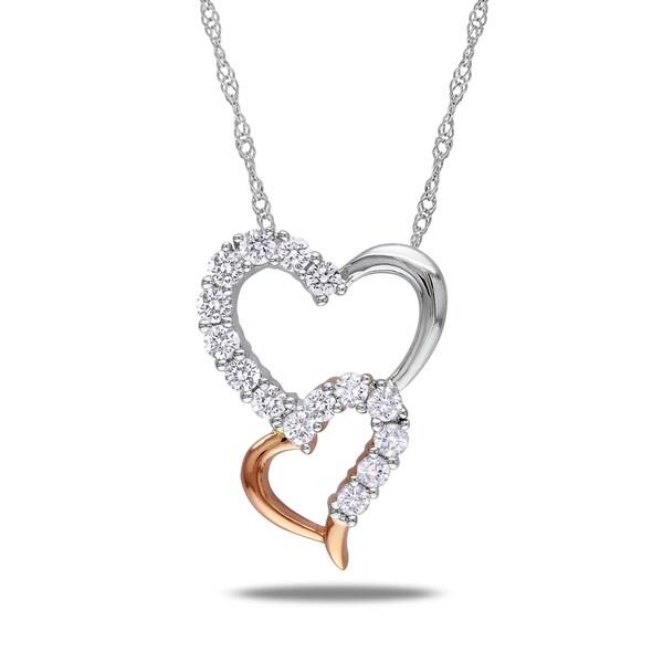 Miadora 14k Two-tone-Gold 1/2ct TDW Diamond Heart Necklace