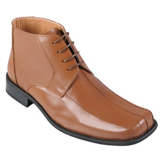 Oxford & Finch Men's Topstitched Leather Lace-up Ankle Boots
