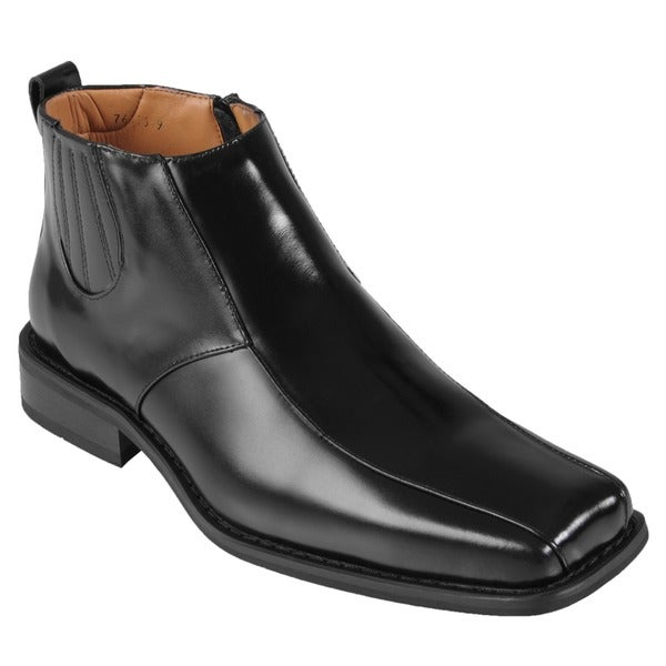 Oxford & Finch Men's Topstitched Leather Ankle Boots
