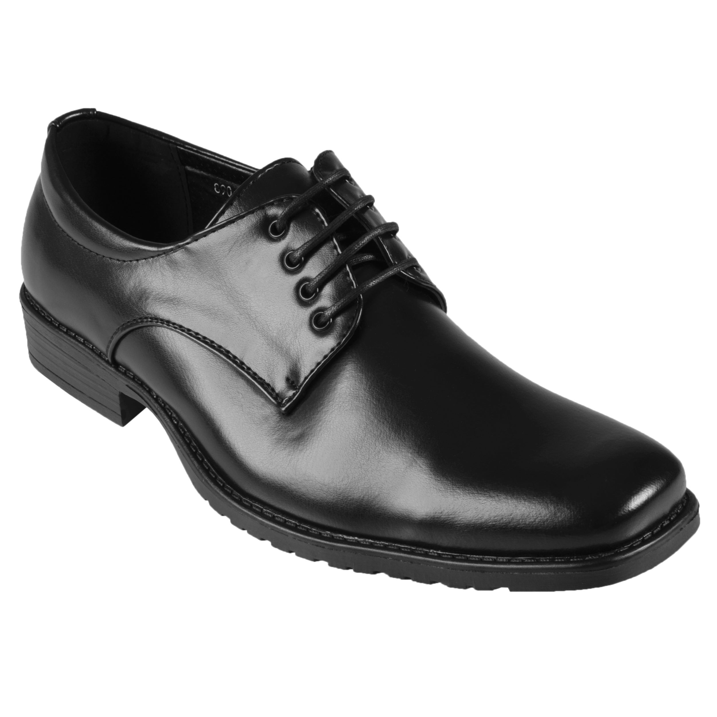 Oxford & Finch Men's Topstitched Square Toe Leather Lace-up Oxfords