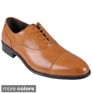 Oxford & Finch Men's Topstitched Almond Toe Leather Lace-up Oxfords