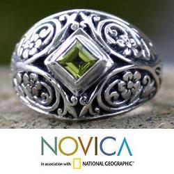 Sterling Silver 'Bali Treasure' Peridot Dome Ring (Indonesia)