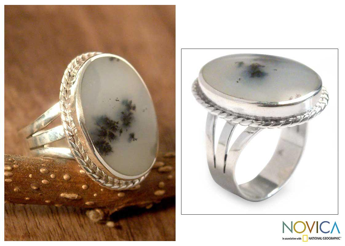 Sterling Silver 'Clouds' Opal Cocktail Ring (Peru)