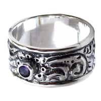Handmade Sterling Silver 'Nature' Amethyst Ring (Indonesia)
