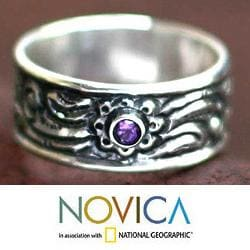 Sterling Silver 'Nature' Amethyst Ring (Indonesia)