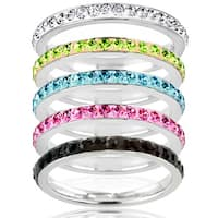 Stainless Steel Colored Cubic Zirconia Stackable Eternity Band - Silver