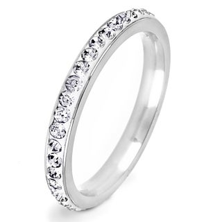 Stainless Steel Colored Cubic Zirconia Stackable Eternity Band - Silver (More options available)