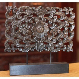 Rain Tree Wood Handcrafted Handmade 'Floral Magnificence' Sculpture (Thailand)