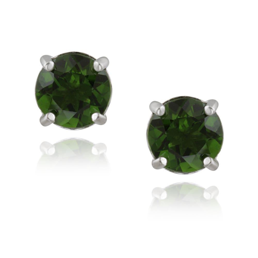 Glitzy Rocks Sterling Silver 1 1/2ct TGW Chrome Diopside Stud Earrings