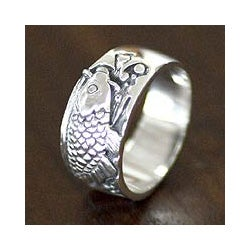 Men's Sterling Silver Ring 'Dragon Fish' (Indonesia)