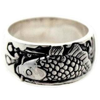 Handmade Men's Sterling Silver Ring Dragon Fish (Indonesia)