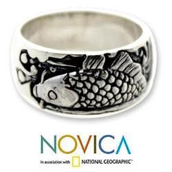 Handmade Men's Sterling Silver Ring 'Dragon Fish' (Indonesia)