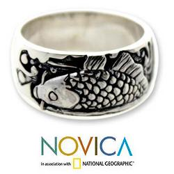 Handmade Men's Sterling Silver Ring 'Dragon Fish' (Indonesia) - Thumbnail 1