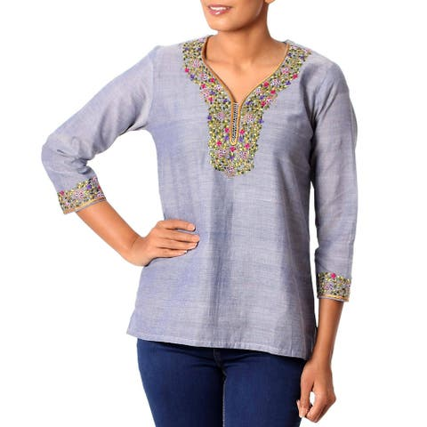 Handmade Cotton 'Grey Floral' Tunic Blouse (India)