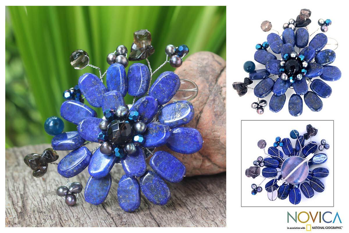 Handmade Multi-gemstone 'Phuket Flowers' Pearl Brooch (4 mm) (Thailand)