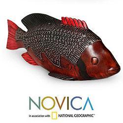 Sese Wood and Aluminum 'Ga Redfish' Sculpture  , Handmade in Ghana