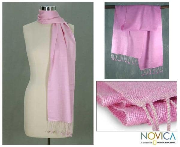 Wool and Silk Blend 'Pink Perfection' Scarf (India)
