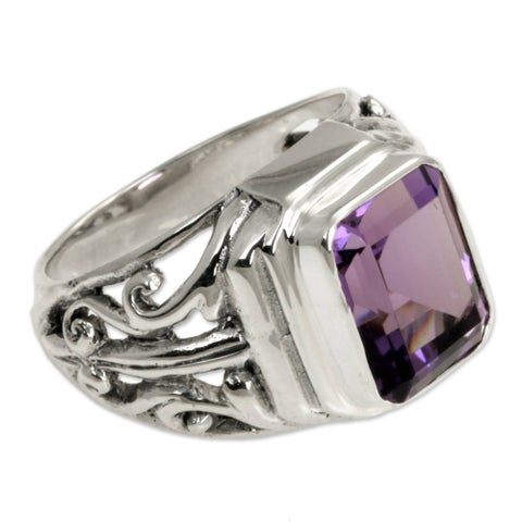 Wisdom Warrior Handmade Artisan 3 Carat Bezel Set Purple Amethyst Stone in 925 Sterling Silver Mens