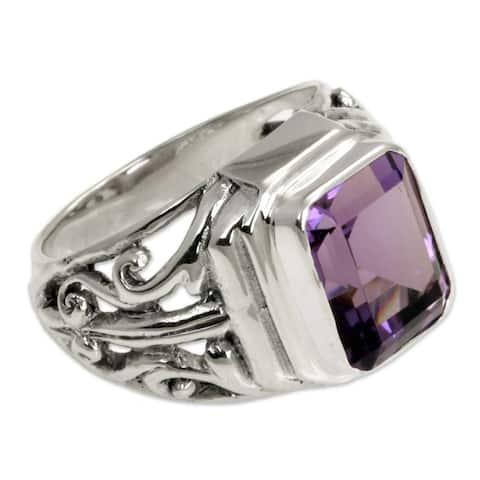 "Handmade ""Wisdom Warrior"" 3 Carat Purple Amethyst Stone .925 Sterling Silver Ring"