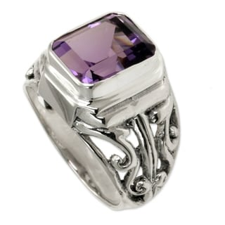 Wisdom Warrior Handmade Artisan 3 Carat Bezel Set Purple Amethyst Stone in 925 Sterling Silver Mens Dress Ring (Indonesia)
