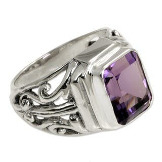 Wisdom Warrior Handmade Artisan 3 Carat Bezel Set Purple Amethyst Stone in 925 Sterling Silver Mens Dress Ring (Indonesia)