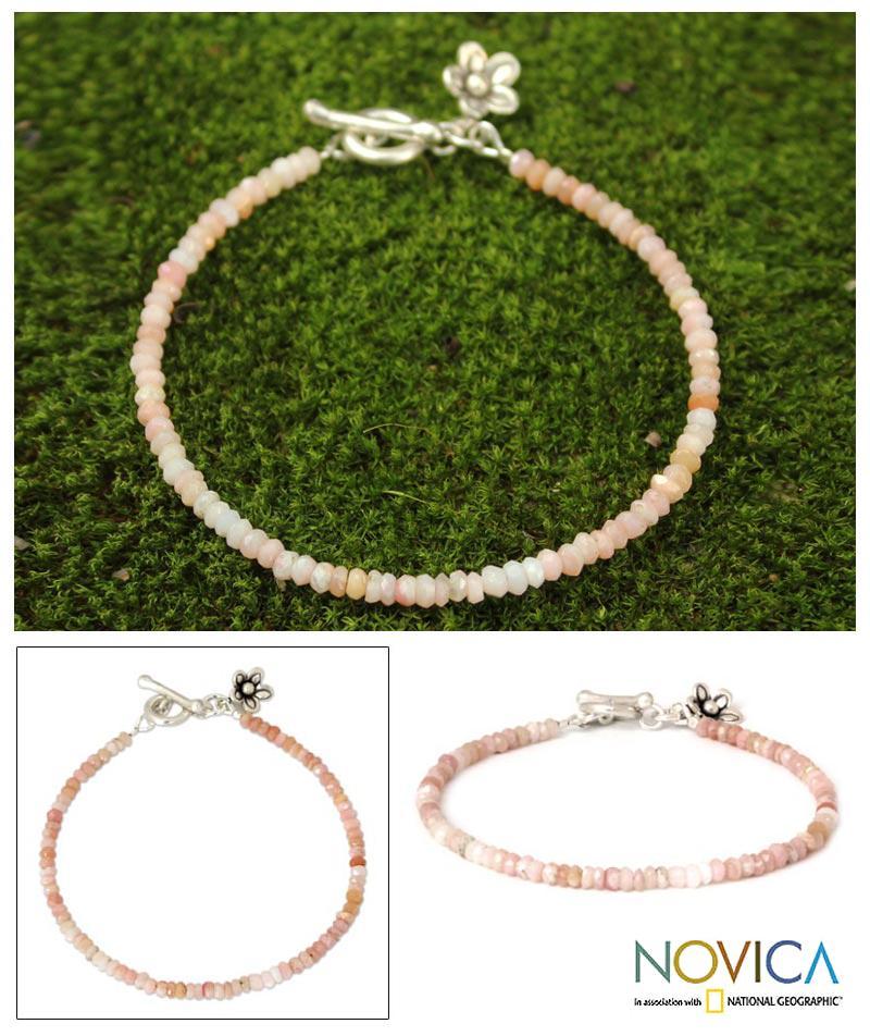 Handmade Silver 'Blossoming Hope' Pink Opal Bracelet (Thailand)