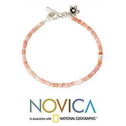 Handmade Silver 'Blossoming Hope' Pink Opal Bracelet (Thailand) - Thumbnail 2