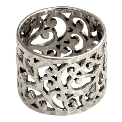Handmade Exotic Bali Artisan Designer Handmade Fashion Clothing Accessory Sterling Silver 17mm Wide Band Ring (India)