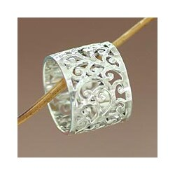 Exotic Bali Artisan Designer Handmade Fashion Clothing Accessory Sterling Silver Floral Jewelry Size 17mm Wide Band Ring