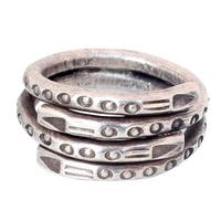 Handmade Sterling Silver 'Hill Tribe Spiral' Wrap Ring (Thailand)