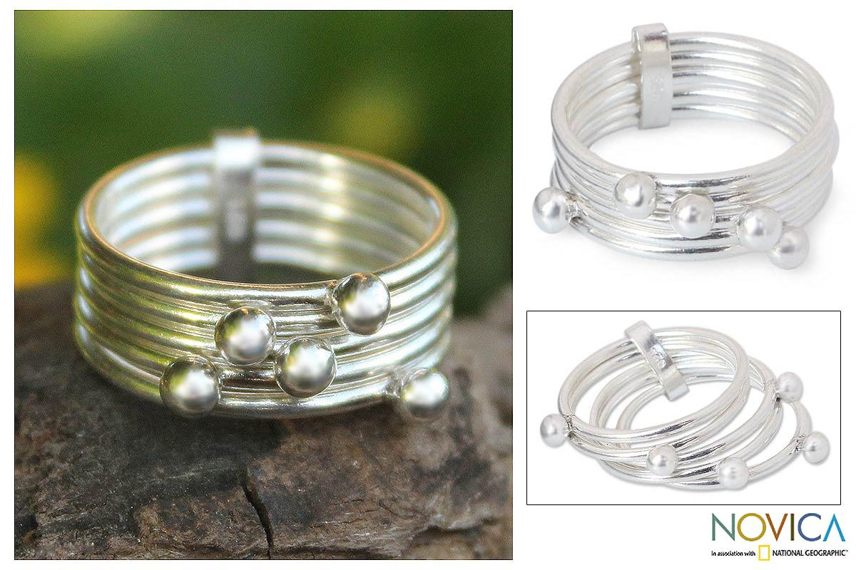 Handmade Set of 5 Sterling Silver 'Planets' Stacking Rings (Thailand)