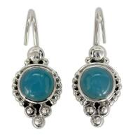 Handmade Ocean Sky Aqua Blue Round Chalcedony Gemstones with 925 Sterling Silver Bohemian Womens Dangle Earrings (India)