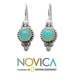 Ocean Sky Aqua Blue Round Chalcedony Gemstones with 925 Sterling Silver Bohemian Womens Dangle Earrings (India) - Thumbnail 1