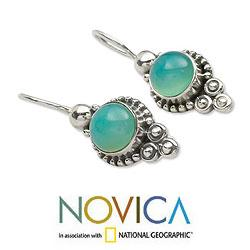 Ocean Sky Aqua Blue Round Chalcedony Gemstones with 925 Sterling Silver Bohemian Womens Dangle Earrings (India) - Thumbnail 2