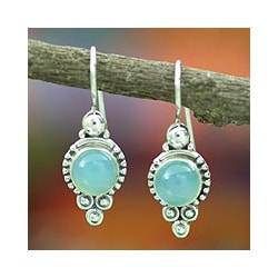 Ocean Sky Aqua Blue Round Chalcedony Gemstones with 925 Sterling Silver Bohemian Womens Dangle Earrings (India)